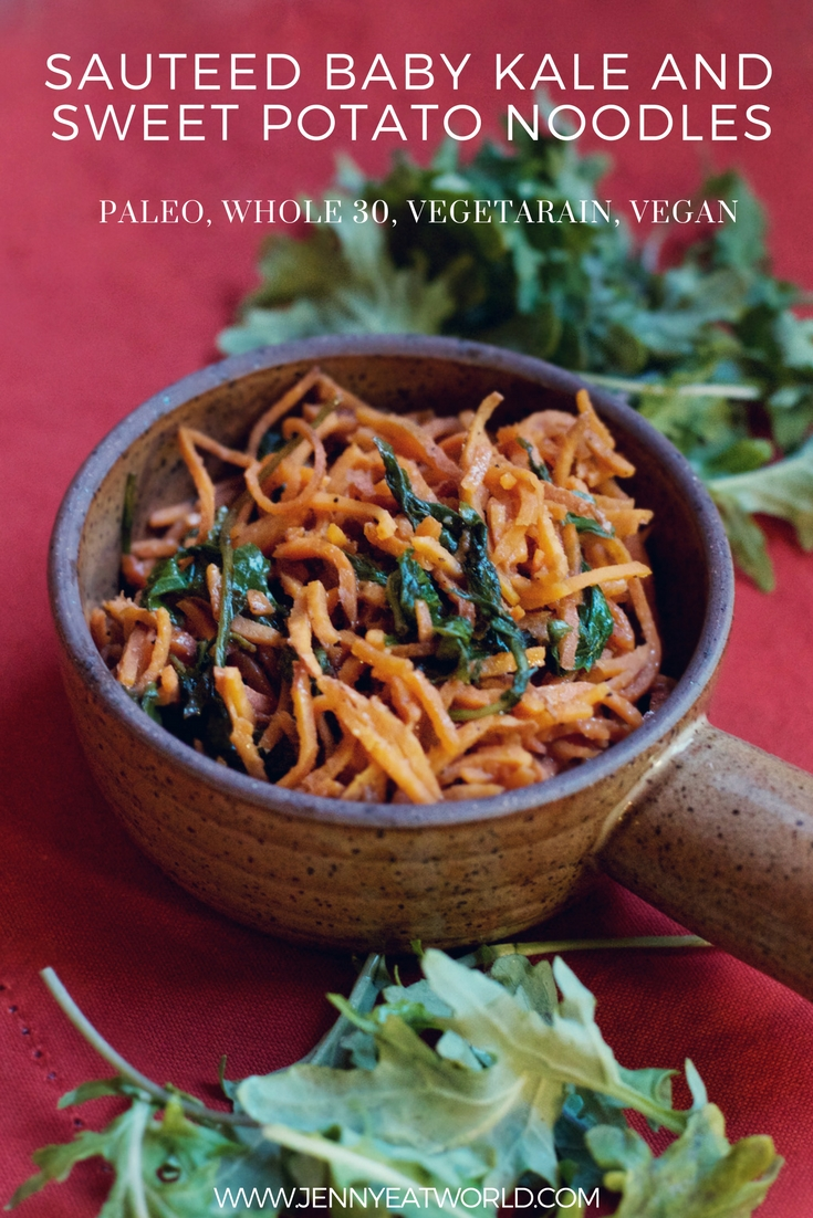 Sauteed baby kale and sweet potato noodles